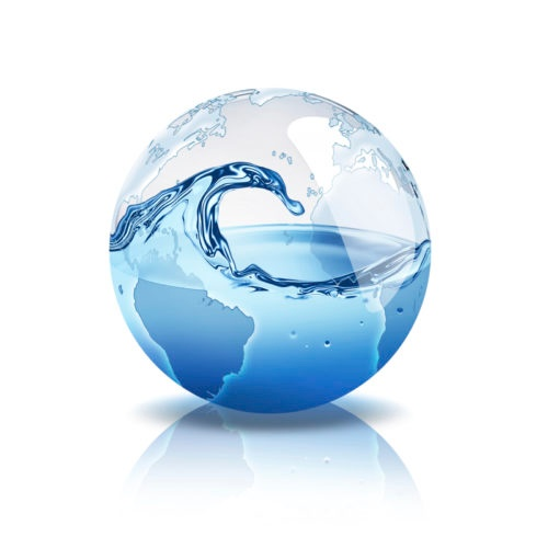 world with water inside. To create world map were taken from the resource visibleearth.nasa.gov